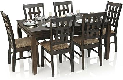 Royaloak Daisy Six Seater Dining Table Set (Walnut)