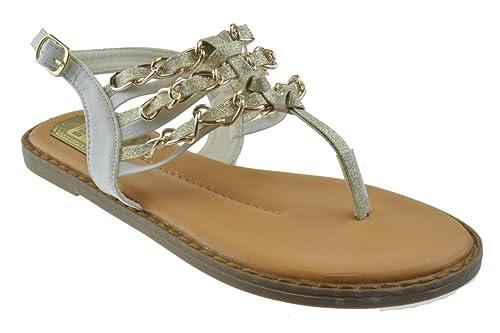 63535cdb7cbc8e Jacobies Loma 3 Womens Metal Chain Thong Flat Sandals White 6.5