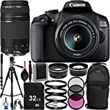 "Canon EOS 1500D/Rebel T7 w/ 18-55mm Lens, 75-300mm Lens and 13pc Accessory Bundle – Includes 32GB SD Memory Card + Sling Backpack + 72"" Professional Tripod + MORE - International Version (No Warranty)"