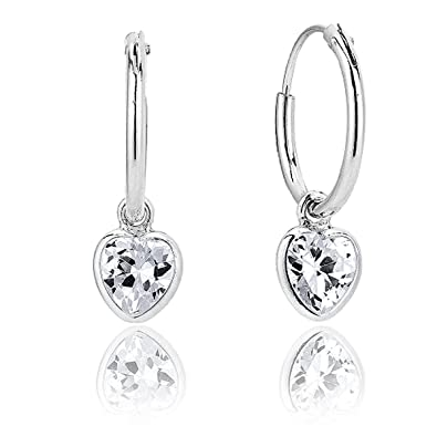 2027f0a3c DTPSilver - 925 Sterling Silver Small Hoops Earrings and Dangling Heart  with Swarovski Crystal Elements - Colour : Clear: Amazon.co.uk: Jewellery