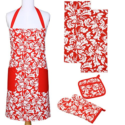 Yourtablecloth Kitchen Gift Set-1 Kitchen Apron, An Oven Mitt & A Pot Holder-2 Kitchen Dish Towels or Tea Towels-Ideal Cooking Gifts or Gift Ideas for Chefs-Suitable for Men & Women-Tango Red