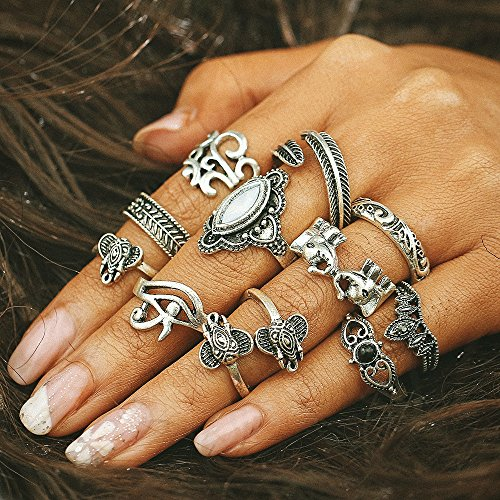 Setita 11 Pieces Retro Silver Turkish Elephant Feather Black Gemstone Joint Knuckle Nail Midi Ring Set Boho Ring Set