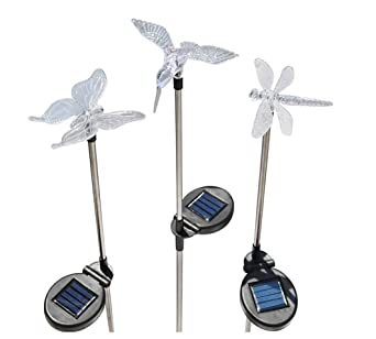Rextin beautiful 3 pcs Decorative Solar Garden Stake LED light