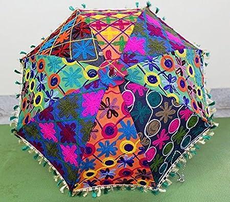 Indian decorativo hecho a mano decoración del hogar Hippie Gypsy Decor algodón espejo trabajo bordado, protección UV paraguas, sombrilla, sombrilla de Boho Bohemian boda sombrilla de playa paraguas, paraguas de jardín: Amazon.es: