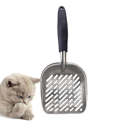 AOLVO - Arenero de Metal para Gatos, Grande, con Pala Profunda, Resistente Material