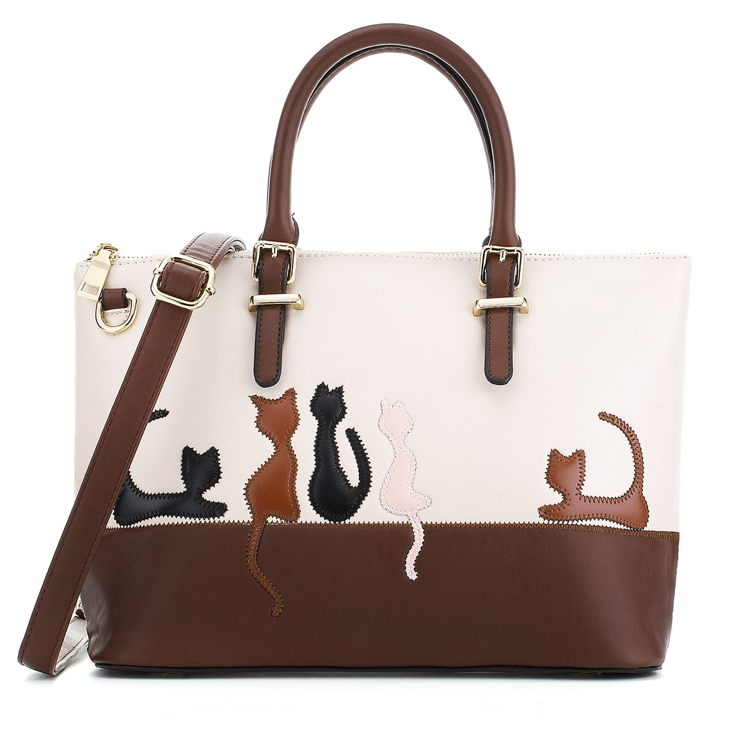 YP Cat Purses and Handbags for Women Cute Leather Satchel Tote Bag (Beige)