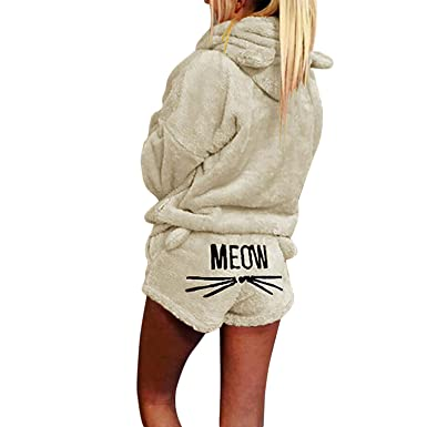 b7a255150 olinase Women Winter Cute Cat Pajama Set Hoodie Sleepwear Warm Fleece  Pullover Apricot Size 4 /