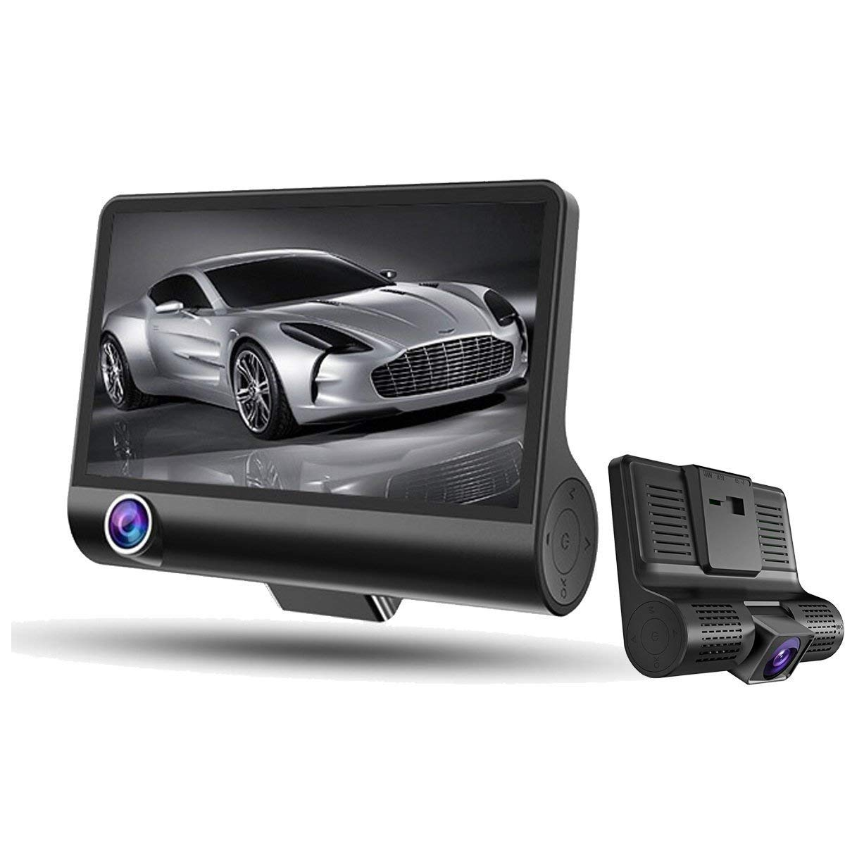 Dash Cam, Car Camera Dashboard Camera Recorder Dual Camera Car DVR Inside - Outside Surveillance1080P HD Night Vision, Wide-angle Car Video Recorder with 4 inch Display Video G-Sensor Loop Recordin