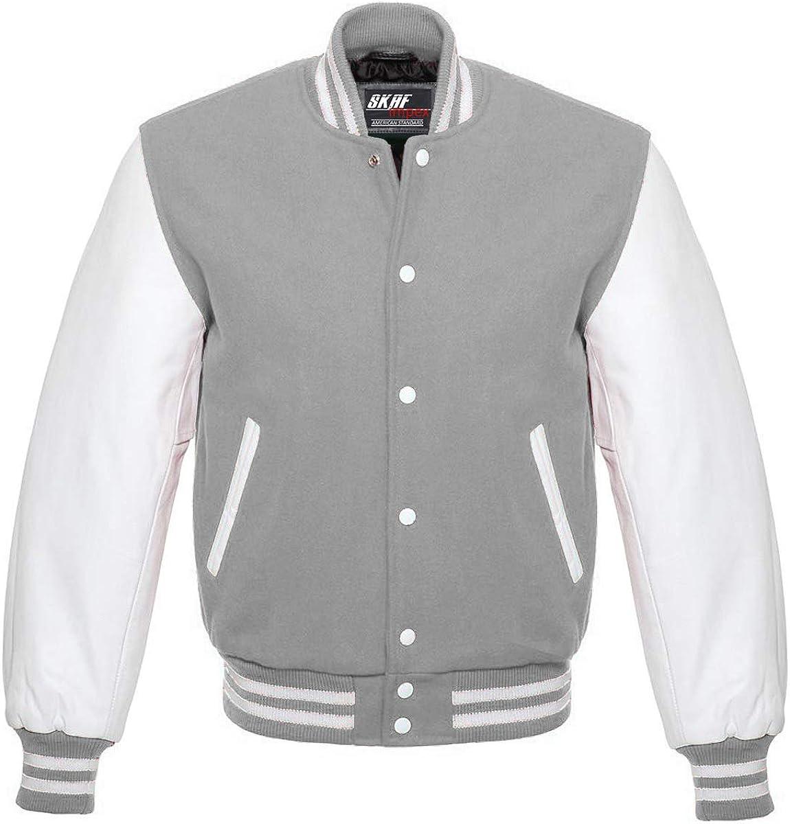 Skaf Impex Mens Letterman Baseball Football Basketball Varsity Jacket Wool Body /& Real Leather Sleeves Grey//White