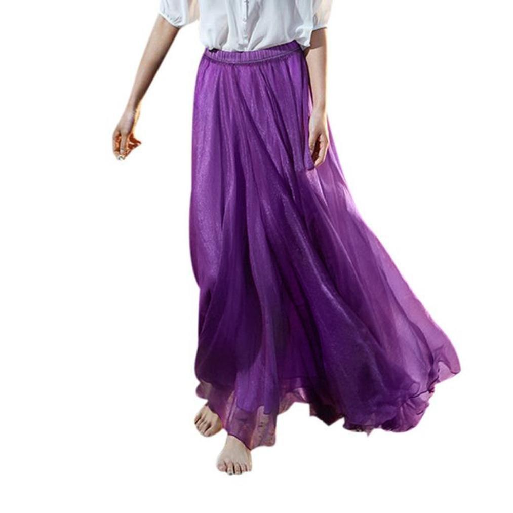 LuckyGirls Femme Jupe de Plage Double Couche Mousseline Plissée Rétro Longue Maxi Jupe Bande de Taille Élastique Taille Unique)