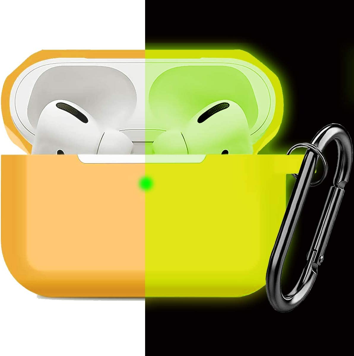 Compatible AirPods Pro Case Cover Silicone Protective Case Skin for Apple Airpod Pro 2019 (Front LED Visible) Nightglow Yellow