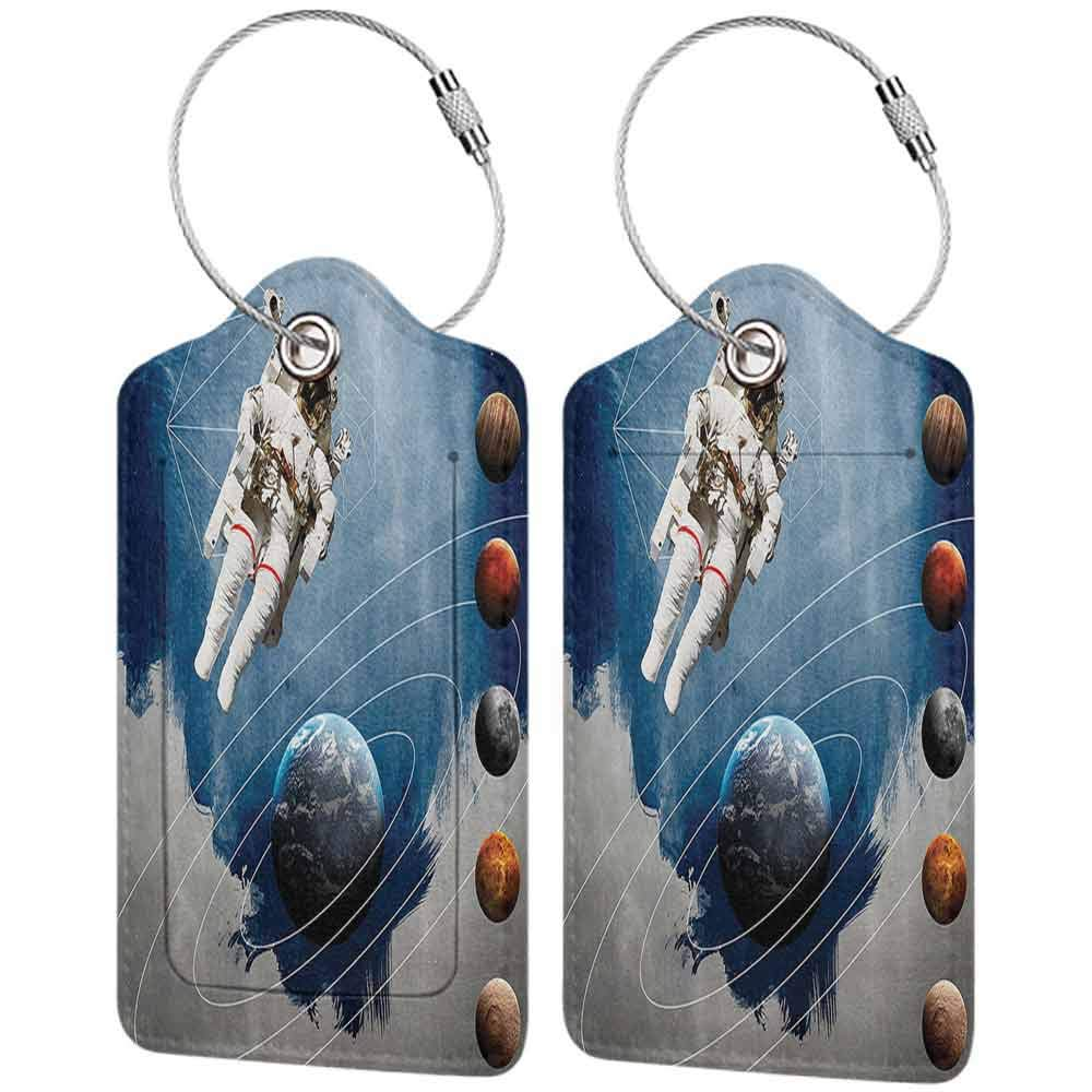 Small luggage tag Outer Space Decor Planetary Circles with Geometric Figures Neptune Astral Rocket Vintage Print Quickly find the suitcase Multi W2.7 x L4.6