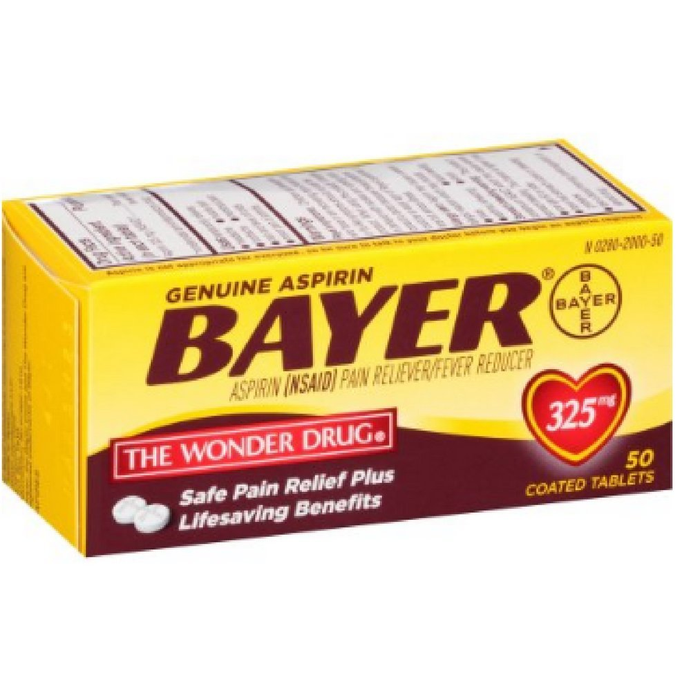 Bayer Genuine Aspirin Coated Tablets, 325 mg, 50 ea (Pack of 10) by Bayer Healthcare