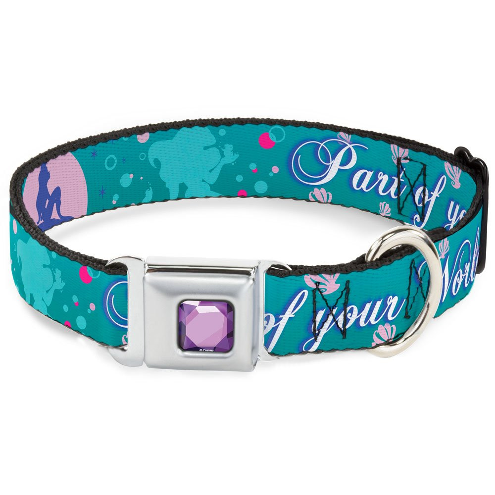Buckle-Down Seatbelt Buckle Dog Collar Little Mermaid Silhouette Scenes Part of Your World bluees 1  Wide Fits 15-26  Neck Large