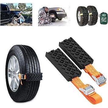 Immoch 2 Pcs Cadenas de Nieve para Coche Bloque de neumáticos Rueda Antideslizante Universal Ajustable para Camión, SUV, Conducción en Invierno: Amazon.es: ...