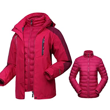 CherryMua Women s 3-in-1 Ski Jacket Outdoor Mountain Coat Waterproof Hooded  with Warm 4512c0c12