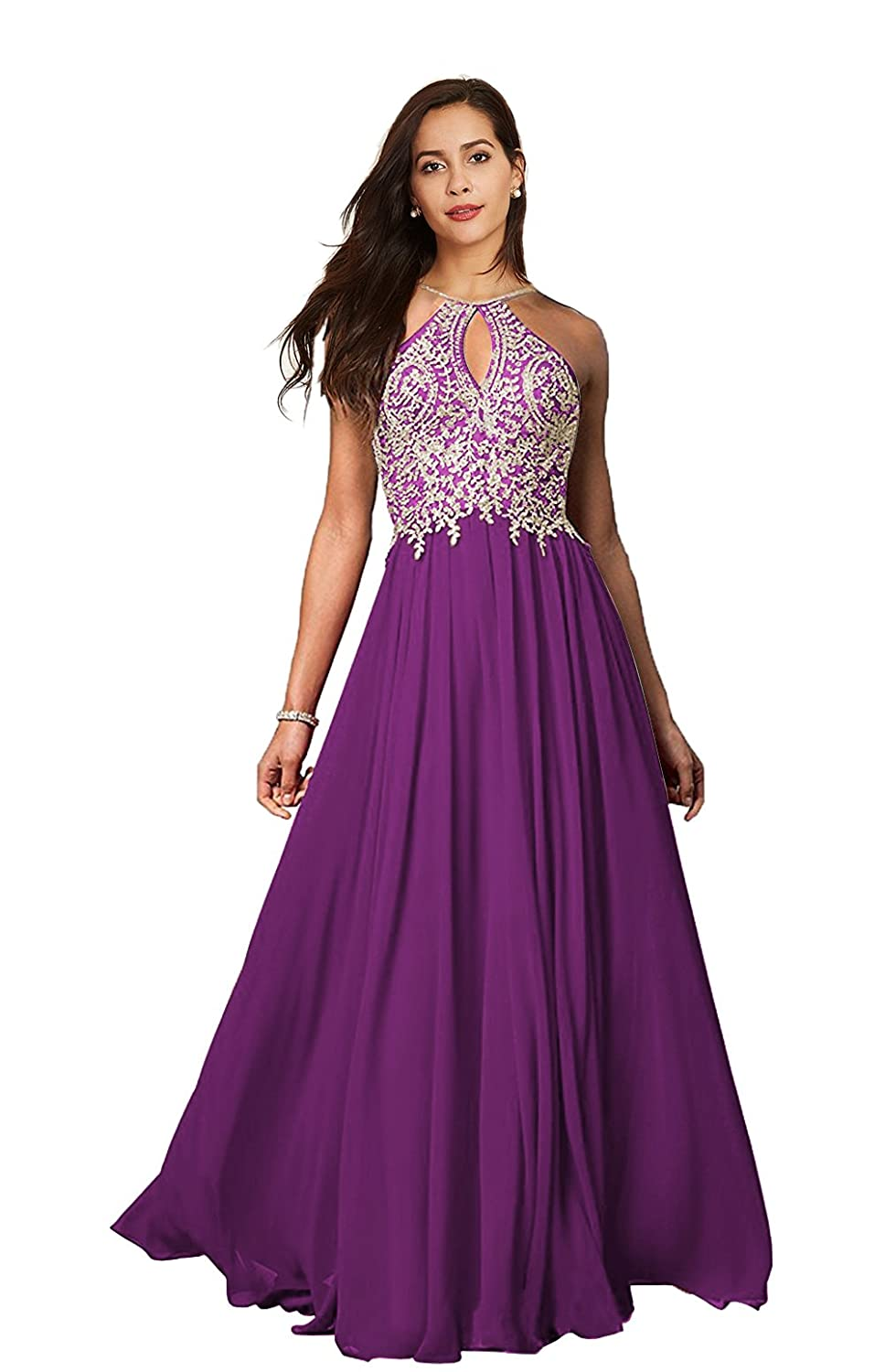 a5bcc56a1d9e Lily Wedding Womens Halter Gold Applique Prom Bridesmaid Dresses 2018 Long  Chiffon Evening Formal Gowns P199 at Amazon Women's Clothing store: