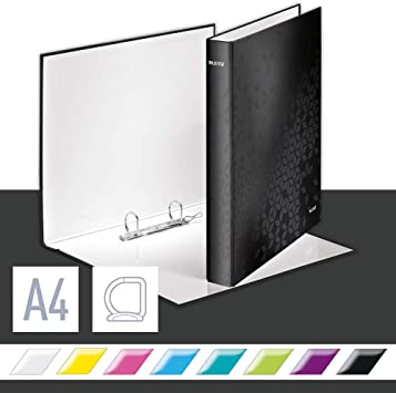 Schwarz A4 42410095 Leitz WOW Ringbuch f/ür bis zu 230 Blatt 2 D-Ring Mechanik 40 mm R/ückenbreite