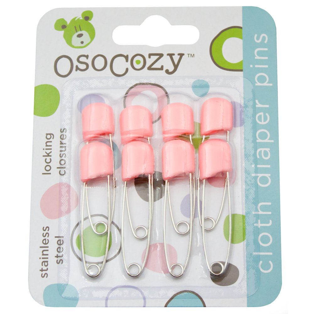 OsoCozy Diaper Pins - {White} - Sturdy, Stainless Steel Diaper Pins with Safe Locking Closures - Use for Special Events, Crafts or Colorful Laundry Pins Pins-8pk-W