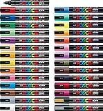 Uni POSCA Paint Marker Pen - Medium Point - Non Alcohol - Odorless Water Resistant Pen Maker - Set of 29 (PC-5M15C & PC-5M7C & 5 Dark Colors & Gold & Silver) with Original Vinyl Pen case