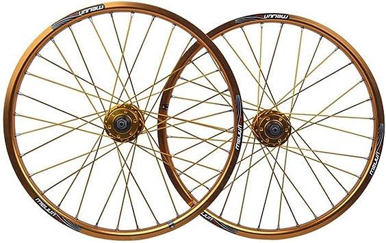 MZPWJD BMX Juego Ruedas Bicicleta 20 Pulgadas Llanta Aleación Doble Pared Freno Disco QR 8/9/10 Velocidad Tarjeta Hub para Bicicleta Plegable 32H (Color : Gold): Amazon.es: Deportes y aire libre