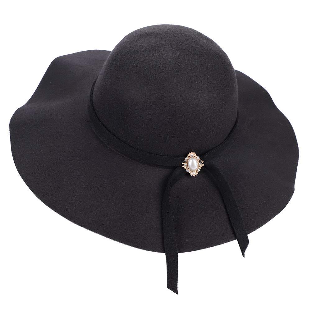 b2e4b829787e LONTG Women's Foldable Wide Brim Felt Bowler Fedora Floopy Wool Hat ...
