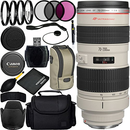 Canon EF 70-200mm f/2.8L USM Lens Bundle with Manufacturer Accessories & Accessory Kit for EOS 7D Mark II, 7D, 80D, 70D, 60D, 50D, 40D, 30D, 20D, Rebel T6s, T6i, T5i, T4i, SL1, T3i, T6, T5, T3, T2i by Canon