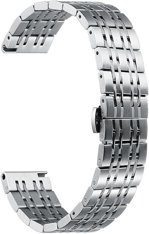 Imagen deiStrap Correa de Reloj de Acero Inoxidable de 22mm, 20mm, 18mm, de Repuesto para Reloj de Pulsera para Hombre y Mujer