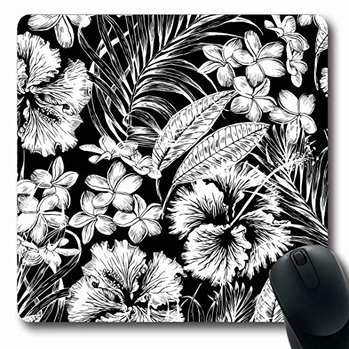 (Ahawoso Mousepads for Computers Bonny Pink Pattern Monochrome Aloha Hawaiian Tropic Blossom Flower Floral Nature Leaf Hibiscus Design Oblong Shape 7.9 x 9.5 Inches Non-Slip Oblong Gaming Mouse Pad)