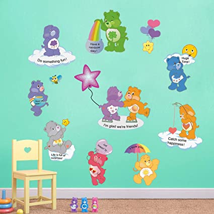 decalmile Care Bears Wall Stickers Baby Nursery Wall Decals Girls&Boys  Bedroom Kids Room Wall Decor