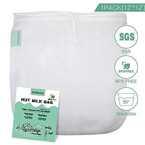 Bellamei Nut Milk Bag Reusable 200 Micron Cheesecloth Bags for Almond Milk Greek Yogurt Strainer Professional for Cold Brew Coffee Tea Juice Nylon