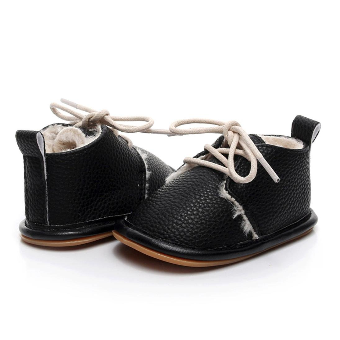 Wanshop for 0-2 Years Old Kids Fashion Newborn Infant Baby Girls Boys Solid Crib Shoes Soft Sole Anti-Slip Lace-Up Sneakers