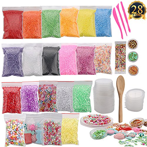 SUBANG 28 Pack Slime Making Kit Including Foam Balls,Fishbowl Beads,Slime Candys,Slime Pears,Slime Storage Containers,Confettis,Fruit Slices,Slime Tools And Wooden Spoon For Slime Making (Wooden Pear)
