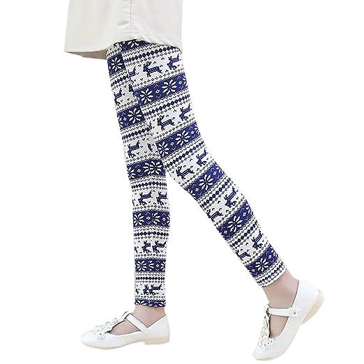 833efa5c02aae Amazon.com: Girls Pants Binmer Christmas Snowflake Elk Printed Kids ...