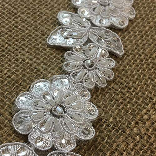 - Bridal Lace Trim Alencon Embroidered Corded Sequined Organza Beautiful Floral, 2