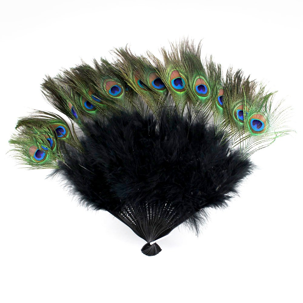 Vintage Peacock teal  Feather Holding Hand Fan~Halloween Party USA seller