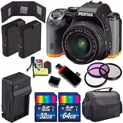 (Pentax K-S2 DSLR Camera with 18-50mm Lens (Black/Orange) + Replacement Battery + External Charger + 32GB Card + 64GB Card + 58mm 3 Piece Filter Kit + Deluxe Accessory Kit)