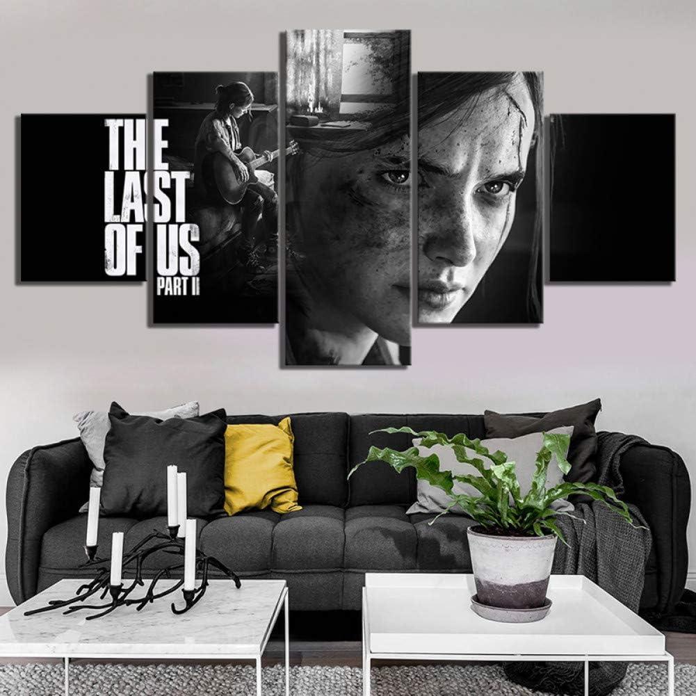 ADGUH Dipinti su Tela5 Pezzi HD Black White Wall Art Paintings Ellie The Last of Us Part 2 Game Poster Artwork Quadri su Tela per la Decorazione domesticaStampe su Tela