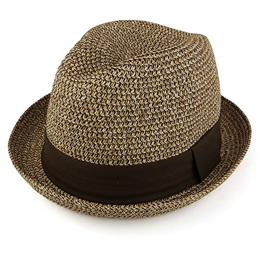 Trendy Apparel Shop Mens Summer Tweed Fedora Hat With Paper Straw Braid - Brown - XL (Braid Fedora Summer Hat)