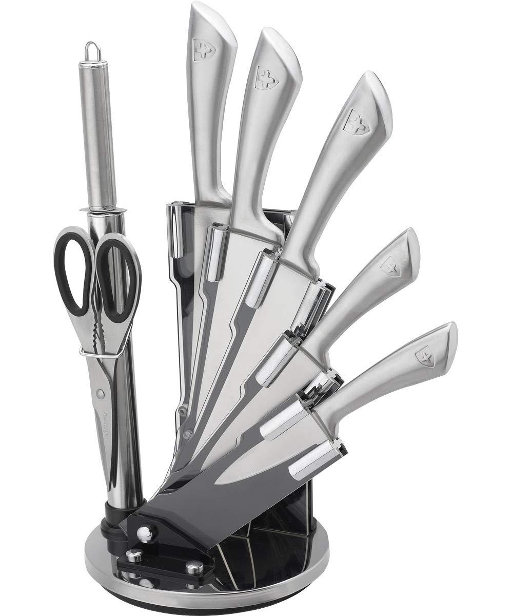 Royalty Line RL-KSS 8pcs Conjunto de los Cuchillos en Acero Inoxidable con Soporte rotatorio + Tijeras + afilador de Cuchillos
