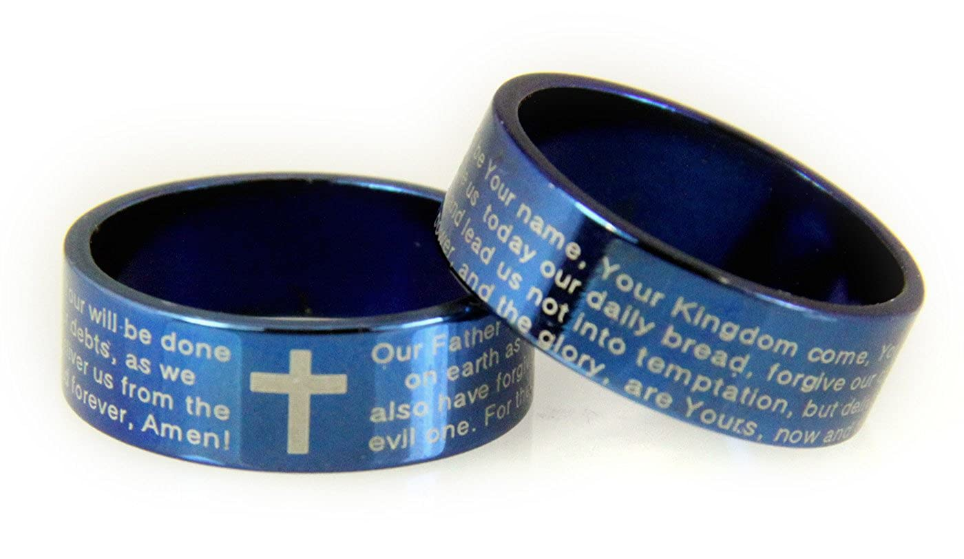 S19 Blue Stainless Steel Our Father Prayer Lords Ring Cross Blueband Dus Christian Bible