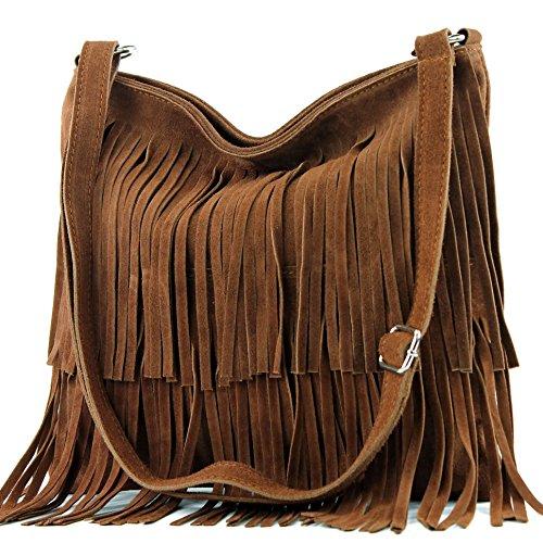 Ital. Bolso de cuero T125 Frans bolso del bolso de las señoras bolsa de gamuza Dunkelcamel