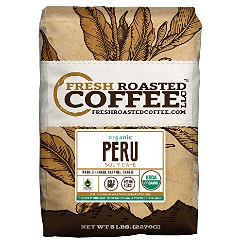 Organic Peru Sol y Café Fair Trade Coffee, Whole Bean Bag, Fresh Roasted Coffee LLC. (5 LB.)