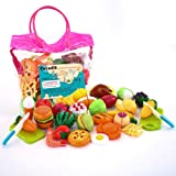 Sotodik 32PCS Cutting Toys Pretend Food Fruits Vegetable Playset Educational Learning Toy Kitchen Play Food For Boy Girl…