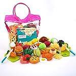 Sotodik 32PCS Cutting Toys Pretend Food Fruits Vegetable Playset Educational Learning