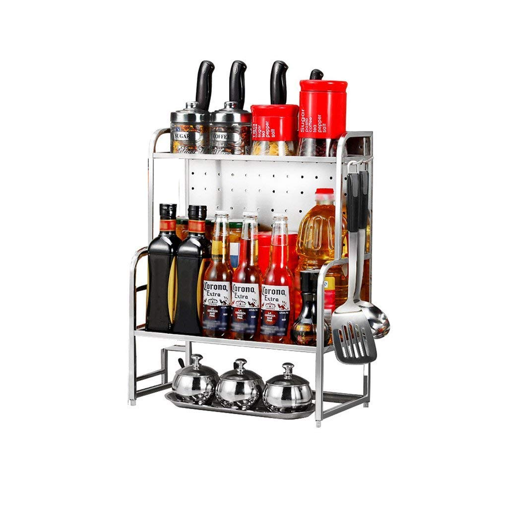 304 Stainless Steel Condiment Shelf Kitchen Supplies Storage Rack Wall Hanging 3-Layer Spices Rack Turret Seasoning Rack Knife Seat (Size : 35cm)