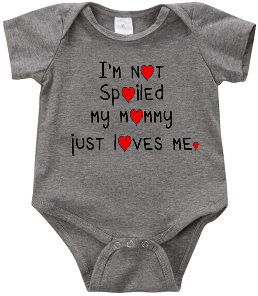 Im not Spoiled My Mommy just Loves me 2 Romper Creeper Birthday Baby Shower Aunty Grandma Mommy Gift