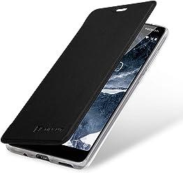 StilGut Book Type Berlin, Housse Nokia 5.1 en Cuir de qualité et en TPU et à Blockage RFID. Étui Flip-Case de Protection à Ouverture latérale avec NFC/RFID Blocker, Noir/Transparent