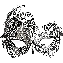 GREATLY Diamante Rhinestone Luxury Venetian Style Metal Filigree Masquerade Mask Prom Ball Dress Sexy Mask For Halloween Mardi Gras Party (Black)