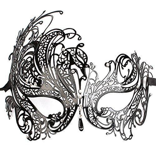 GREATLY Diamante Rhinestone Luxury Venetian Style Metal Filigree Masquerade Mask Prom Ball Dress Sexy Mask For Halloween Mardi Gras Party (2)